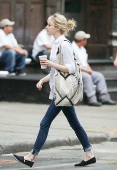 Emma Stone fashion. Yup, this is pretty much what I live in . long collared shirt, skinnies and flats