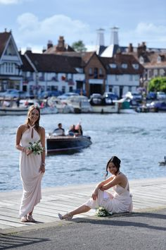 Summer wedding - Bridesmaids bouquets at the river Thames. Wedding Bridesmaid Bouquets, River Thames, Summer Weddings, White Dress, White Dress Outfit
