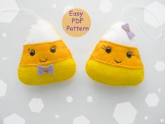 This listing is for the PDF pattern and tutorial of EASY feltcandy cornt ornaments: boy and girl.  Beautiful wool felt ornaments for Halloween decorations.  Included in this 7 page PDF file:  - List of materials needed - Full size pattern ornament - Step by step Instructions with full-color photos - Tutorials for required stitches  Details:   - finished size approx. 4 (10 cm)  - Hand-sewn  - Pattern Language - English  - Level of difficulty: beginner This is a digital download, not a…