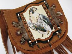 SALE Beaded Leather Falcon Purse by OhMyBeadingHeart on Etsy, $450.00