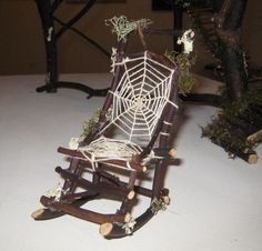 Rocking Chair - Artcraft, 6x12 cm ©2013 by Gifts from The House Of Whimsy - twig fairy rocking-chair with spiderweb lace