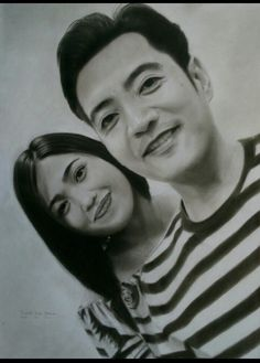 Charcoal drawing on canson sketchpad 26x36 cm Filipino lovely couple in Qatar By marte ivor biaco # portrait