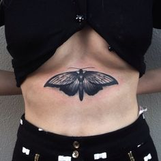 by Pari Corbitt Baby Tattoos, Body Art Tattoos, Small Tattoos, Sleeve Tattoos, Side Tattoos, Luna Moth Tattoo, Tattoo Under Chest, Grunge Tattoo, Ribbon Tattoos