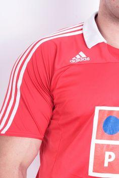 Adidas E pluribus unum S.L.B Mens L Polo Shirt Football Club Short Sleeve Red