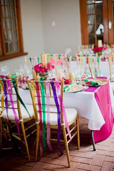Wedding Chair Decorations with Ribbon-i like it, but I would want it to look more romantic and less whimsical for our wedding Wedding Chair Decorations, Wedding Chairs, Wedding Tablecloths, Festival Wedding, Festival Party, Brazilian Wedding, Multicolor Wedding, South African Weddings, Mexican Weddings