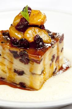 White chocolate & cranberry  Bread & Butter Pudding