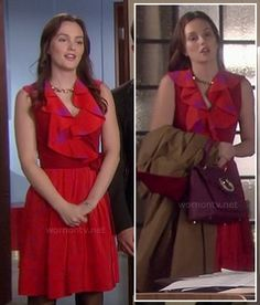 Blair's red star print ruffle dress on Gossip Girl Gossip Girls, Gossip Girl Seasons, Gossip Girl Outfits, Gossip Girl Fashion, Blair Waldorf Outfits, Cool Outfits, Fashion Outfits, Ruffle Dress, Clothes For Women