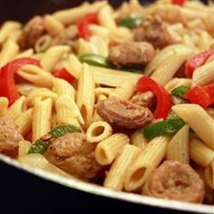 """Bow Tie Pasta with Sausage and Sweet Peppers 