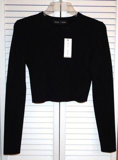 $952 NWT Fabulous PROENZA SCHOULER Black Cropped Knit Sweater seen on Blake Live #ProenzaSchouler #Crewneck