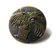 Vintage Knöpfe - Alter Metallknopf Palme ♥ - ein Designerstück von diy-vintage…
