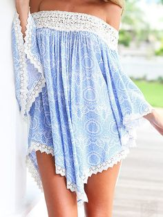 Blue Tribal Print Lace Trim Off Shoulder Flare Sleeve Dress