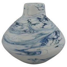 Marbled Vase White/Blue Small - Threshold™ : Target