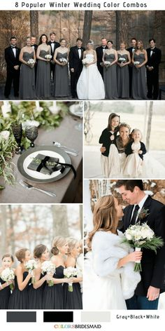 8 Winter Wedding Color Combos for 2018 - No.1 Gray, Black and White #colsbm #weddings #weddingideas #graywedding