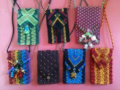 Micro macramé medicine pouch necklaces. Takes about 4-5 hours each to make. AUD38-44 each.