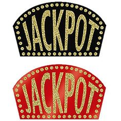 Our Glittered Jackpot Signs come in red or black and have gold glitter. Let us choose a color for your for these fun cardboard casino decorations.