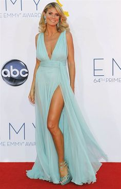 """""""Project Runway"""" host and model Heidi Klum rocks the red carpet in Alexandre Vauthier. (Photo: Mario Anzuoni / Reuters) #Emmys"""