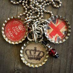 British Themed Bottle Cap Necklace