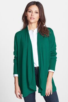 Eileen Fisher Rounded Front Merino Wool Cardigan