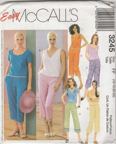 McCall's 3245 Size 16-18-20-22 Misses'/Misses' Petite Tops and Pull-On Pants Sewing Pattern 2001 Uncut by LadybugsandScorpions on Etsy