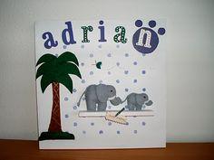 Cuadro en DM con motivos en fieltro de elefantes y palmera