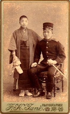 Apr.25 1897. photo on left  Kansuke's father Goro Yamamoto.  明治30年4月25日 山本五郎(左)と 第三師団輜重兵 正村末吉(従兄弟)