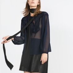 Navy Blue Embroidered Bib Front Blouse Long sleeves,elastic cuffs, sheered with lace tie in front. Zara Tops Blouses
