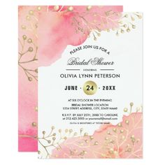 Bridal Shower Peach Watercolor Invitations - shower gifts diy customize creative