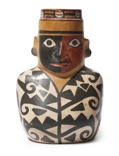 Wari Figural Vessel in Black and White Tunic<br>ca. Colombian Culture, Colombian Art, Pottery Sculpture, Sculpture Art, Peruvian Art, Art Premier, Native American Pottery, Mexica, Mesoamerican
