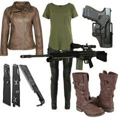 this will be my zombie apocalypse outfit.i have the boots shirt and guns, all i need is the leather pants and leather jacket and some knifes lol :) Zombie Apocalypse Outfit, Apocalypse Fashion, Zombie Apocalypse Survival, Badass Outfit, Just In Case, Style Me, Leather Pants, Cute Outfits, Cosplay