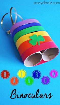Rainbow Toilet Paper Roll Binoculars Craft for Kids *LEPRECHAUN HUNTING!* #Stpatricksday | CraftyMorning.com