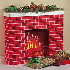 cardboard box, fireplace, christmas