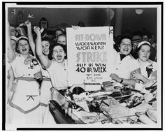 Female employees of Woolworth's holding sign indicating they are striking for a 40 hour work week, 1937.  New York World-Telegram and the Sun Newspaper Photograph Collection. Library of Congress Prints and Photographs Collection.