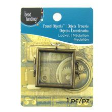 Found Objects™ Antique Gold Square Frame Locket by Bead Landing™