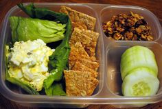 Healthy lunchboxes!  I'm thinking I could alter this one to do lettuce wraps instead of the egg salad on lettuce, and nuts in place of the granola.