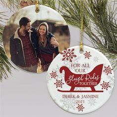 Surprise your favorite couple with a thoughtful gift this year with a personalized photo ornaments to celebrate all their sleigh rides together for many years to come. #photoornaments #personalizedchristmasornaments #coupleornaments #classicchristmasornaments Christmas Gifts For Couples, Christmas Couple, Personalized Photo Ornaments, Word Art Design, Text Color, Christmas Tree Ornaments, Thoughtful Gifts, Christmas Presents For Couples, Christmas Tree Toppers