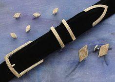 Texline III Engraved 14kt Gold and Sterling Silver Belt Buckle