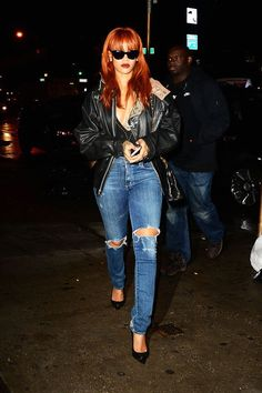 12 Times Rihanna Was The Queen Of NYC Summer Style #refinery29  http://www.refinery29.com/rihanna-nyc-summer-style#slide-6  Forget the studded bodysuit and too-cool vintage leather jacket. It's Ri-Ri's shades-at-night statement that truly proves the sun never sets on a badass.Cockpit USA leather jacket; Citizens of Humanity jeans; Giuseppe Zanotti heels....