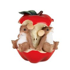 """Charming Tales Mice and apple Figurine 3"""""""