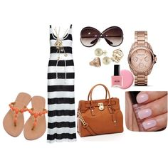 """""""Kim K Inspired Look Striped Maxi dress baby pink nails"""" by jany2279 on Polyvore"""