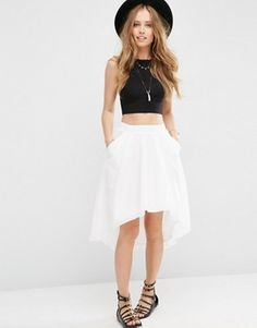 ASOS Skirt with Dip Back in Luxe Cotton
