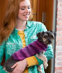 Paw Print Dog Sweater Free Knitting Pattern from Red Heart Yarns