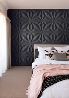 3D Panels, Room Decoration, Modern Room, Room ideas, Modern Bedroom, Bedroom Ideas, Wall Decoration, Home Decoration, Black Wall.