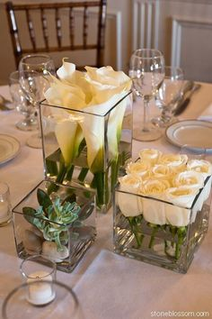 60 Simple & Elegant All White Wedding Color Ideas simple white wedding table setting decor All White Wedding, Elegant Wedding, Spring Wedding, Trendy Wedding, Wedding Simple, Wedding Table Ideas Elegant, Square Wedding Tables, Simple Wedding Table Decorations, Flower Table Decorations