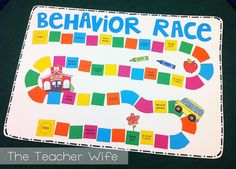 """Racing for Good Behavior! For 13-14 year change and make this a whole class thing. (Big bulletin board under behavior chart) For every day they stay on green they get to move their name to the finish line. At the end of the month if your there you get the """"special"""" treat. (Have smaller incentives for kids who almost made it)"""