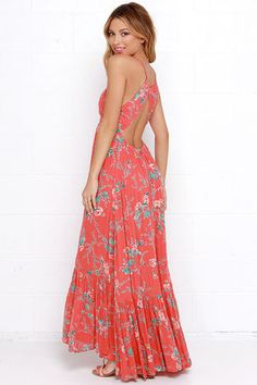 Billabong Dream Escape Maxi Dress - Floral Print Dress - Coral Red Dress - $74.95