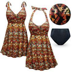 NEW! Customizable Sedona Print Halter or Shoulder Strap 2pc Plus Size Swimsuit/SwimDress 0x 1x 2x 3x 4x 5x 6x 7x 8x 9x