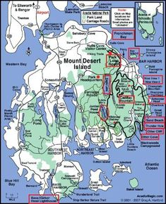 Mount Desert Island Map - This MDI map gives a good overview of the many Acadia National Park locations, island towns, villages, and roadways. Acadia National Park Map, National Parks Map, Maine Road Trip, East Coast Road Trip, Road Trips, Bora Bora, New Hampshire, Acadia Maine, Acadie