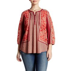 Lucky Brand Scarf Print Henley Blouse (Plus Size) ($30) ❤ liked on Polyvore featuring plus size women's fashion, plus size clothing, plus size tops, plus size blouses, plus size, red multi, womens plus tops, three quarter sleeve blouses, lucky brand tops and 3/4 sleeve tops