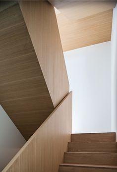 Sleek wood staircase