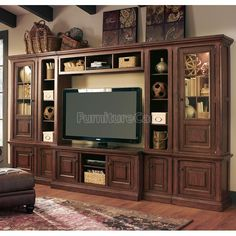 Parker House - Aria 60 Inch TV Console 6 Piece Entertainment Wall in Antique Vintage Smoked Pecan Finish - ARI Home Entertainment, Large Entertainment Center, Entertainment Furniture, Parker House, Cool Tv Stands, Tv Furniture, Bella Furniture, Bedroom Furniture, Bedroom Decor